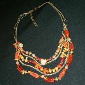 Jewelry - Orange & Red Abalone Shell, Stone & Bead Necklace